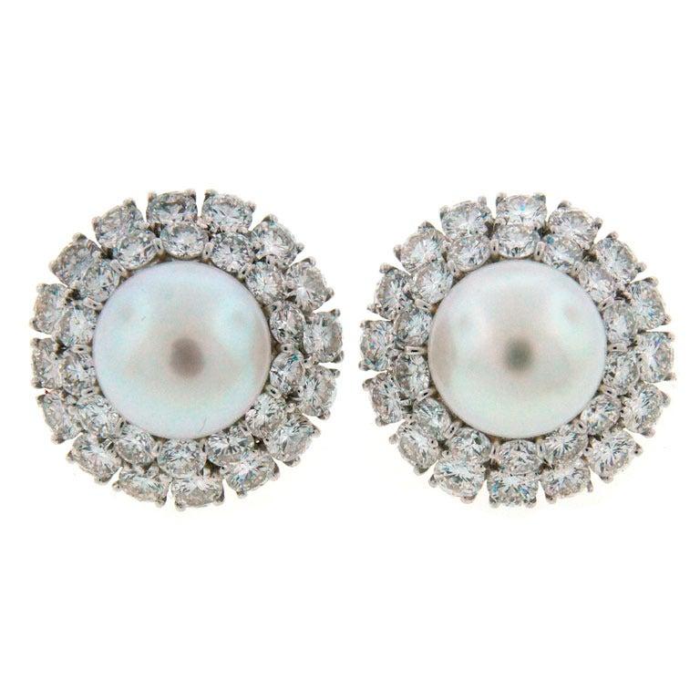 2873c8771 1960s Tiffany and Co. Seed Pearl Black Onyx Diamond Platinum Tassel Earrings  at 1stdibs