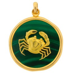 Van Cleef & Arpels Malachite & Yellow Gold Pendant c1970s