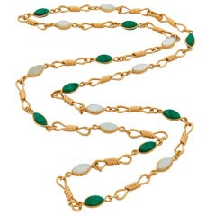 Van Cleef & Arpels Malachite Mother-of-Pearl Yellow Gold Chain Necklace c1970s
