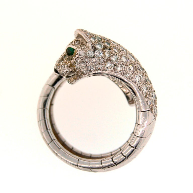 Cartier Emerald Diamond White Gold Panthere Ring In Excellent Condition For Sale In Beverly Hills, CA