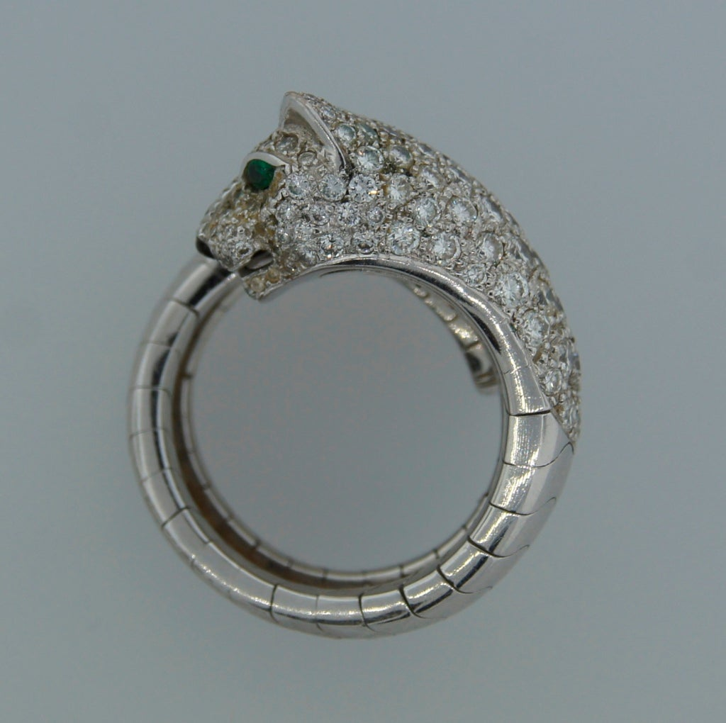 Women's Cartier Emerald Diamond White Gold Panthere Ring For Sale