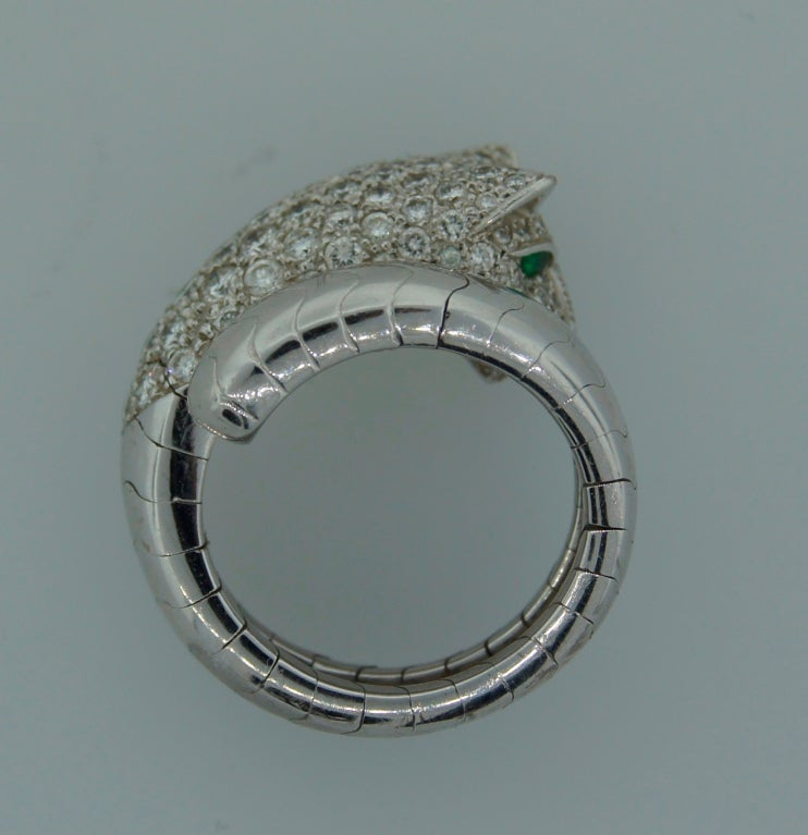 Cartier Emerald Diamond White Gold Panthere Ring For Sale 1