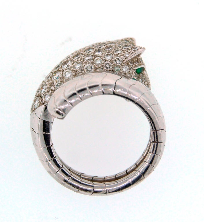 Cartier Emerald Diamond White Gold Panthere Ring For Sale 2