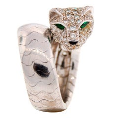 Cartier Emerald Diamond White Gold Panthere Ring