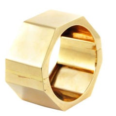 A Gold Hexagonal Cuff Bracelet