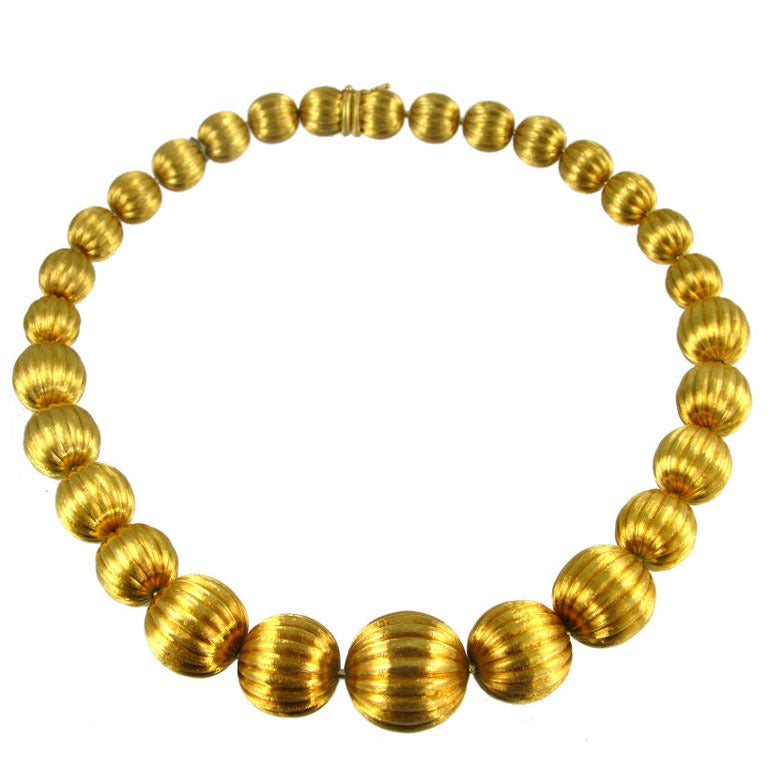 A Gold Bead Necklace With A Florentine Finish At 1stdibs