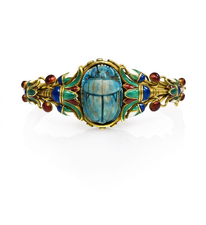 Marcus & Co. Antique Egyptian Revival Enamel Gold Scarab Bracelet 2