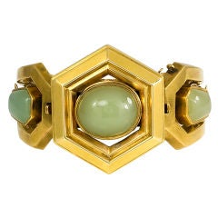 Antique Green Chalcedony and Gold Bangle