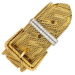 CARTIER Gold and Diamond Buckle Bracelet
