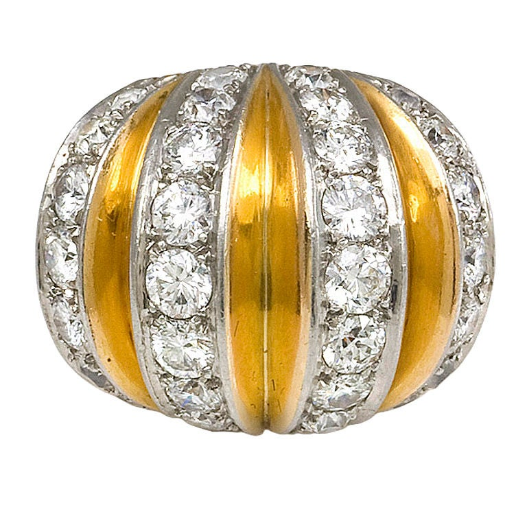 Van Cleef And Arpels Gold And Diamond Bombe Ring At 1stdibs