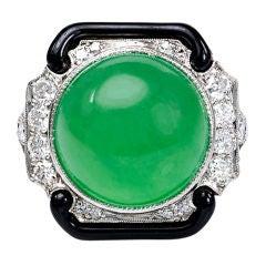 TIFFANY & CO. Jade and Enamel Ring