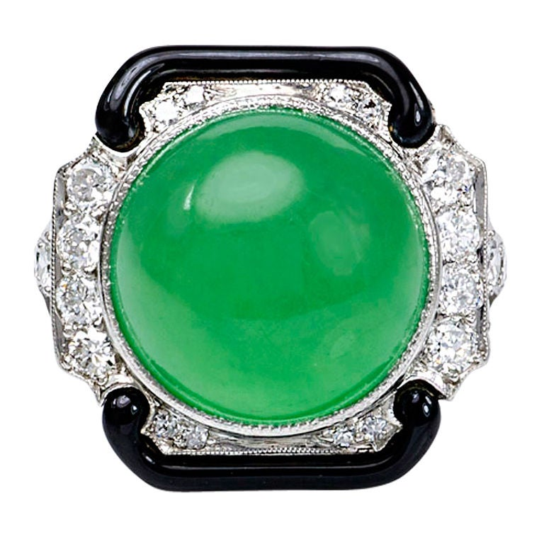 TIFFANY and CO Jade and Enamel Ring at 1stdibs