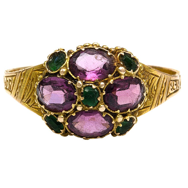 antique garnet and emerald ring at 1stdibs