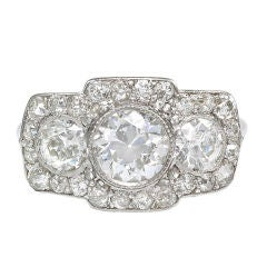 Edwardian Three-Stone Diamond and Platinum Ring