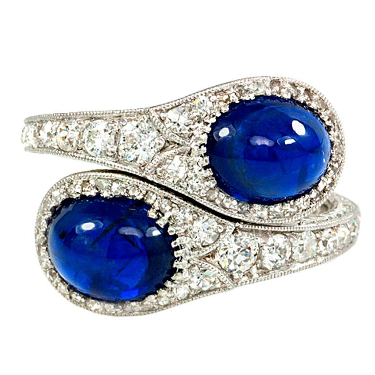 Edwardian Diamond and Sapphire Bypass Ring 1