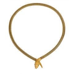 Antique Gold Serpent Necklace