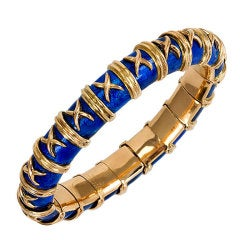 "1960s Tiffany & Co. Schlumberger Blue Enamel Gold ""Croisillon"" Bracelet"
