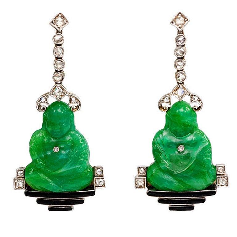Art Deco Carved Peking Glass Buddha Diamond Platinum
