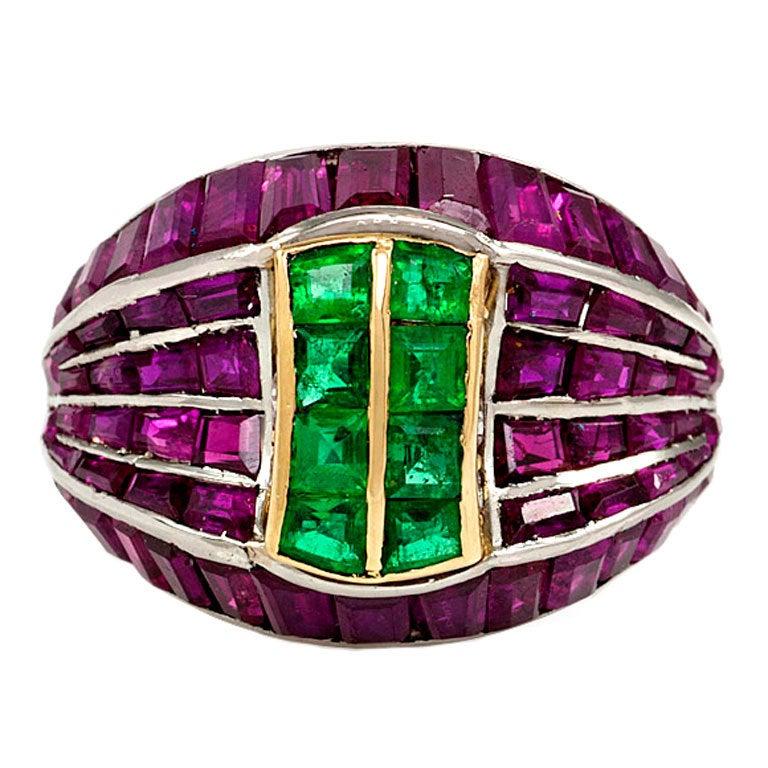 retro ruby emerald ring at 1stdibs