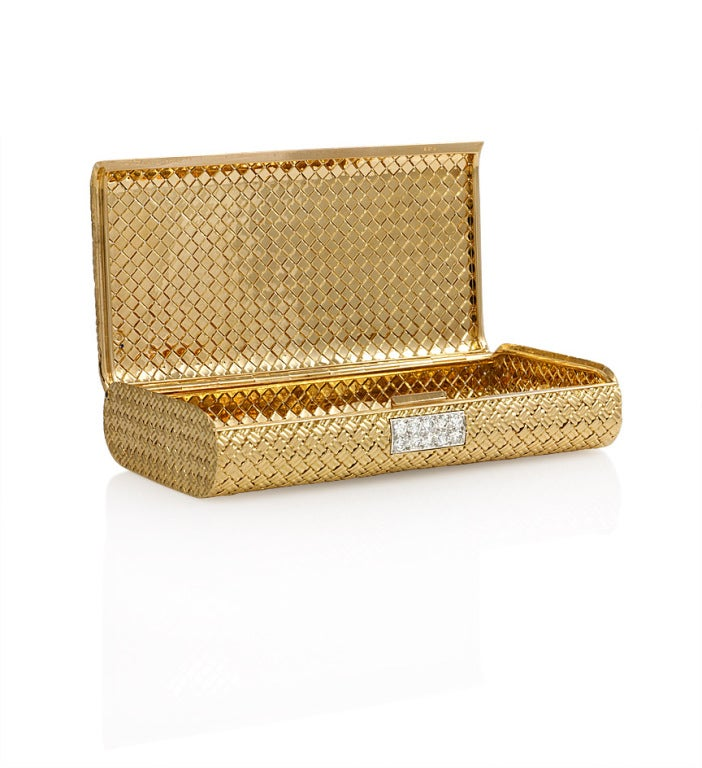 Van Cleef And Arpels Gold And Diamond Cigarette Case At