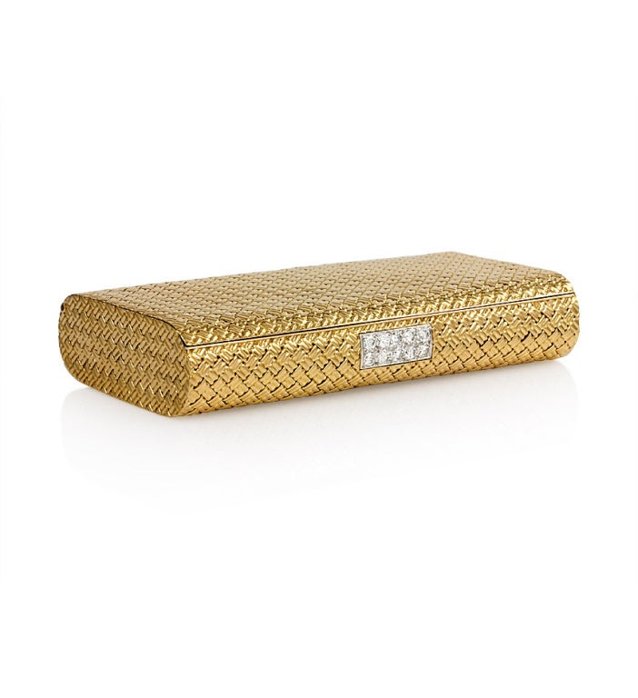 Cigarette Diamond: VAN CLEEF AND ARPELS Gold And Diamond Cigarette Case At