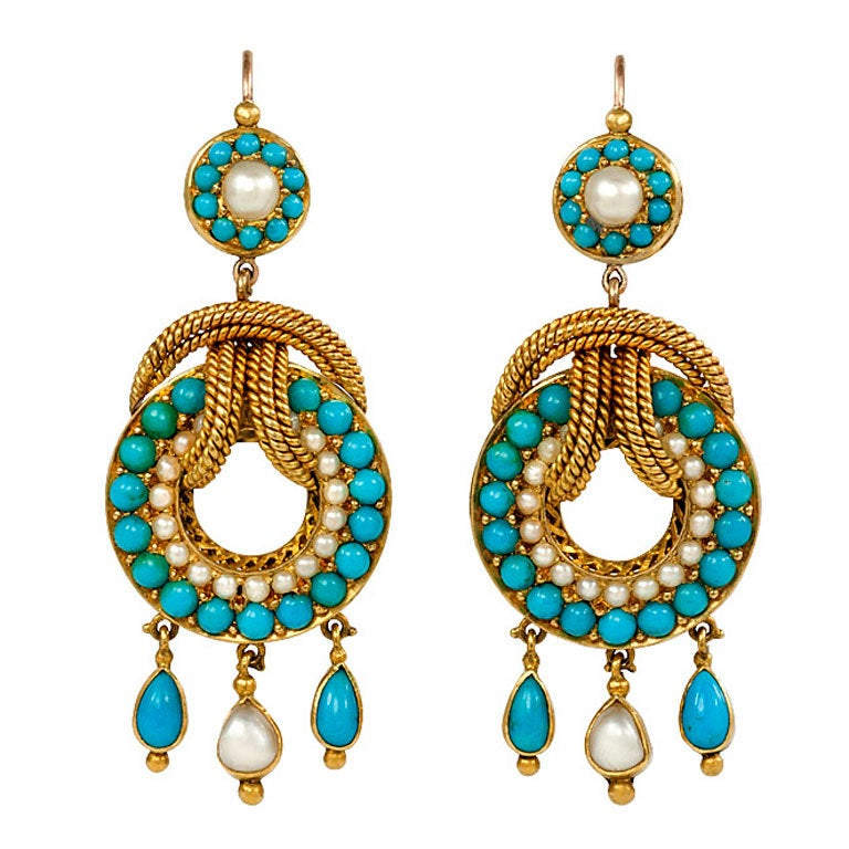 antique pearl gold and turquoise earrings at 1stdibs