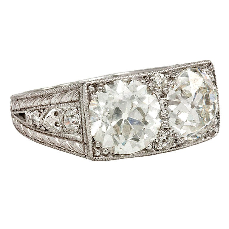 Art Deco Two Stone Diamond Ring At 1stdibs