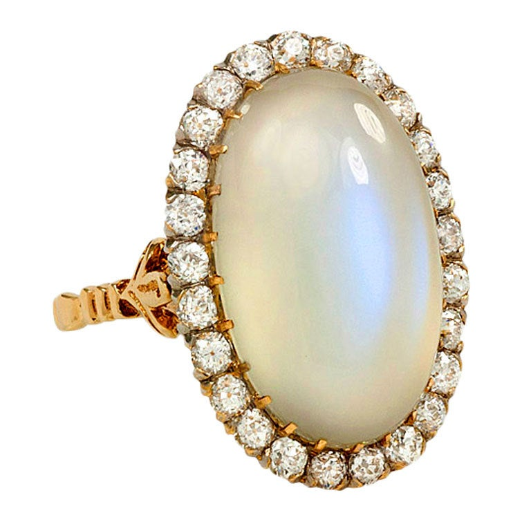 Antique Moonstone And Diamond Ring At 1stdibs