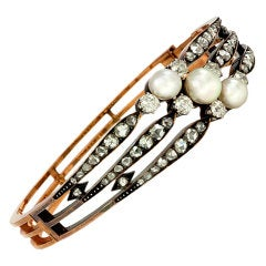 Antique Gold, Diamond and Pearl Three-Row Bracelet