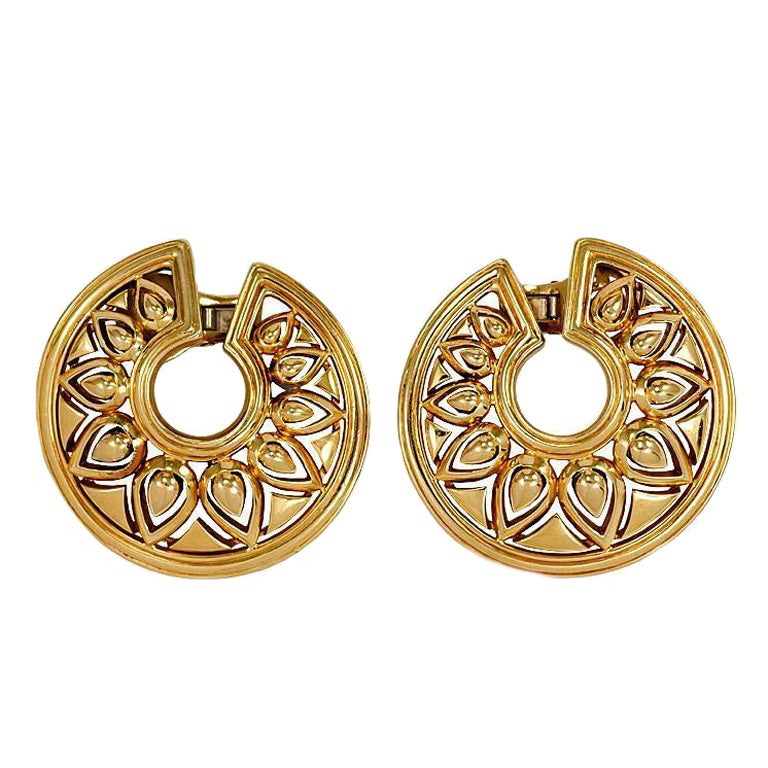 Cartier Paris Gold Tanjore Earrings At 1stdibs