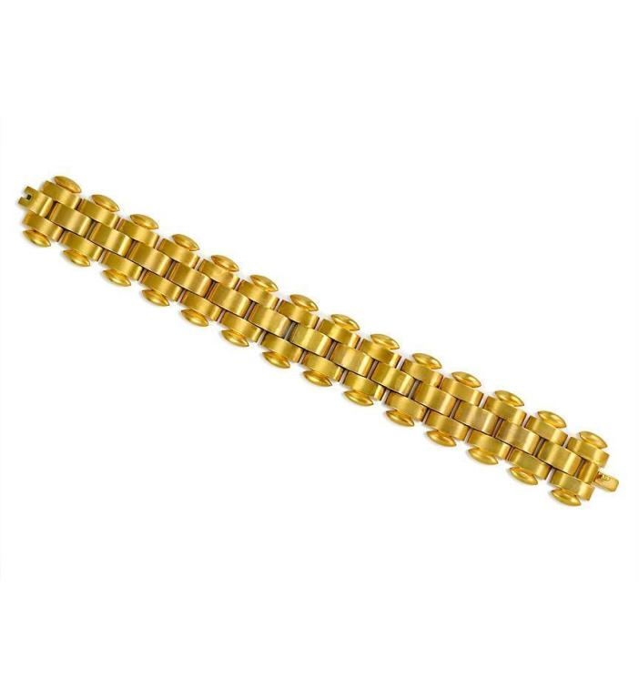 An Antique Gold Brick Link Bracelet At 1stdibs