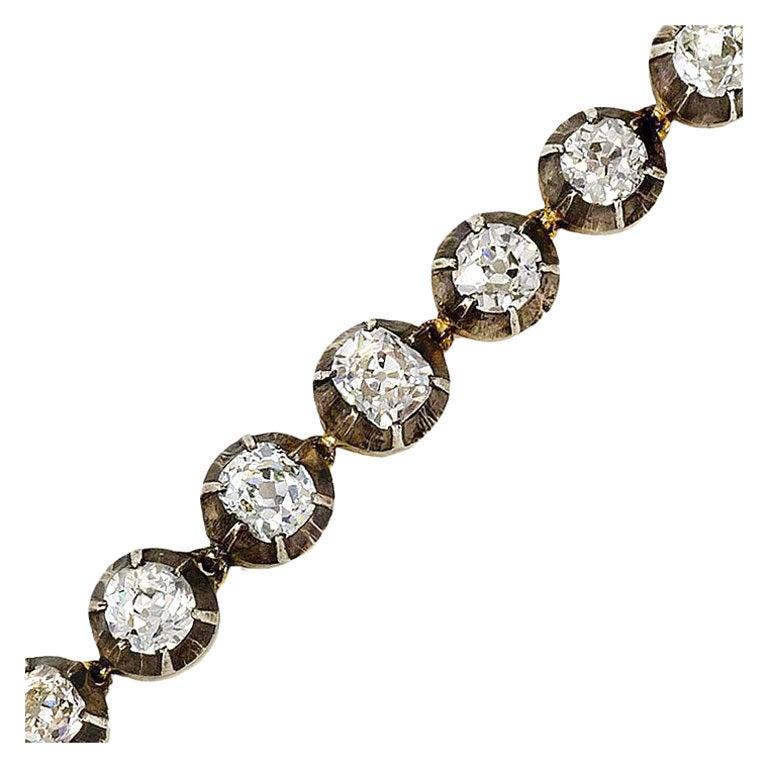 Antique Old Mine Cut Diamond Line Bracelet At 1stdibs