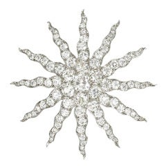 Tiffany Antique Diamond Starburst Brooch
