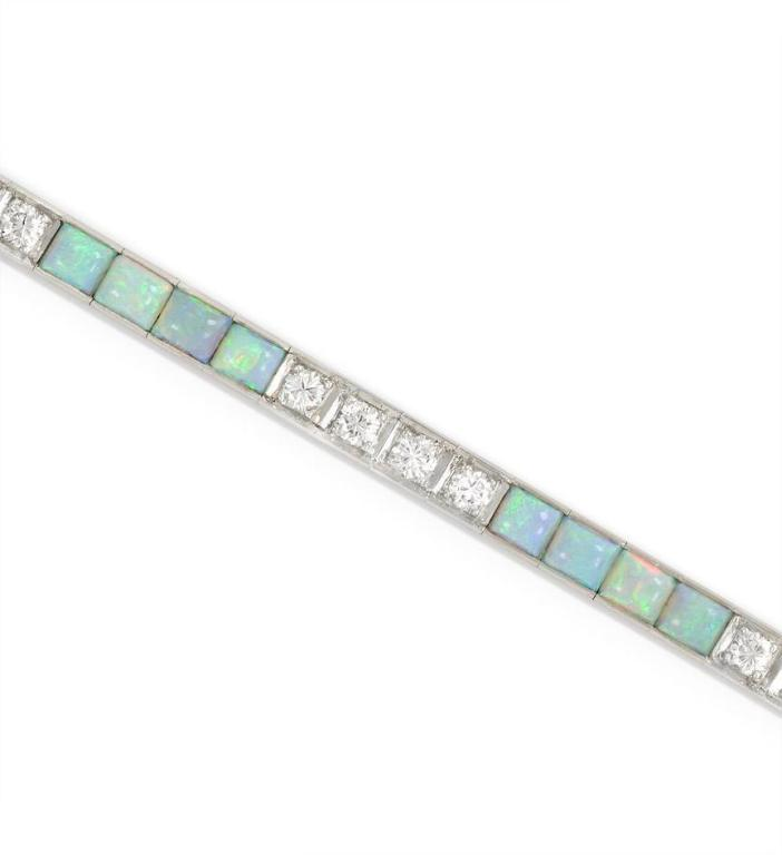 An Edwardian Opal Diamond Line Bracelet In Excellent Condition For New York Ny