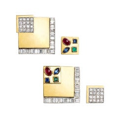 1970s Gold and Gemset Earrings with Interchangeable Square Insets