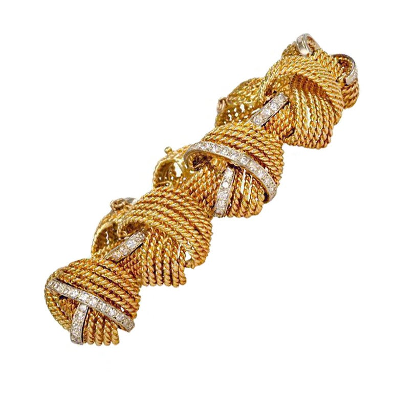 1950s Gold And Diamond Bracelet At 1stdibs