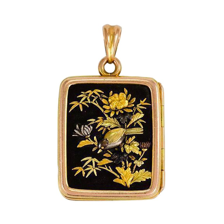 Antique Gold Double Sided Shakudo Locket At 1stdibs
