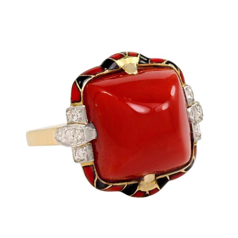 Art Deco Coral Diamond and Enamel Ring
