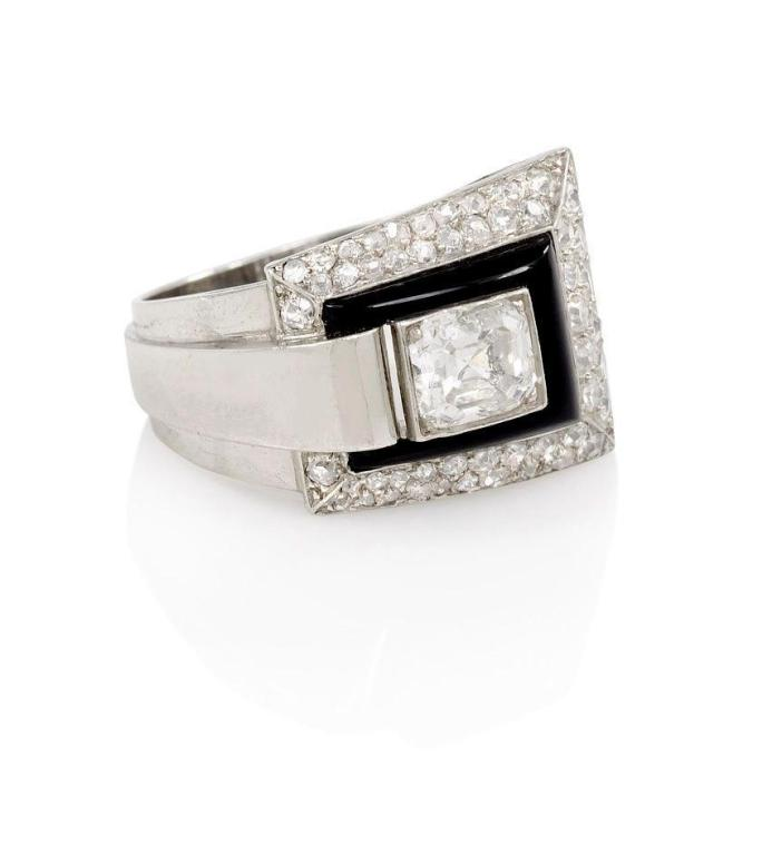 French Art Deco Onyx and Diamond Ring 2