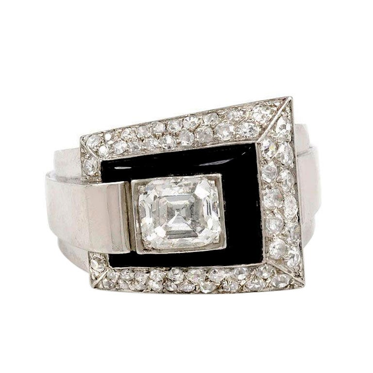 French Art Deco Onyx and Diamond Ring 1