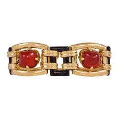 1930s Ghiso Carnelian Onyx Gold Bracelet