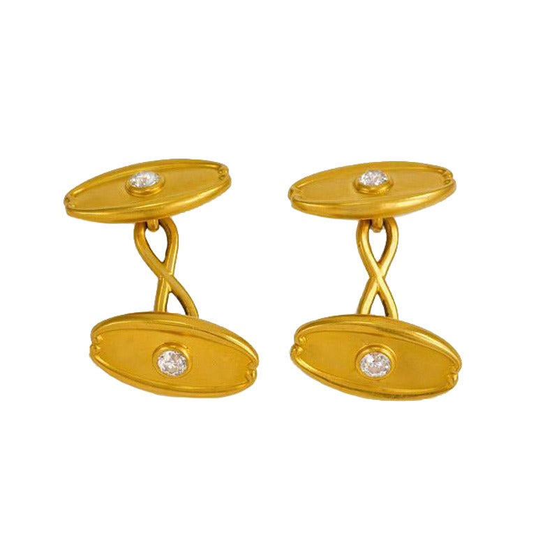 Antique Tiffany Diamond Gold Cufflinks At 1stdibs