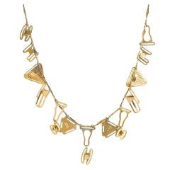 Art Deco Gold Necklace with Lingerie Fasteners