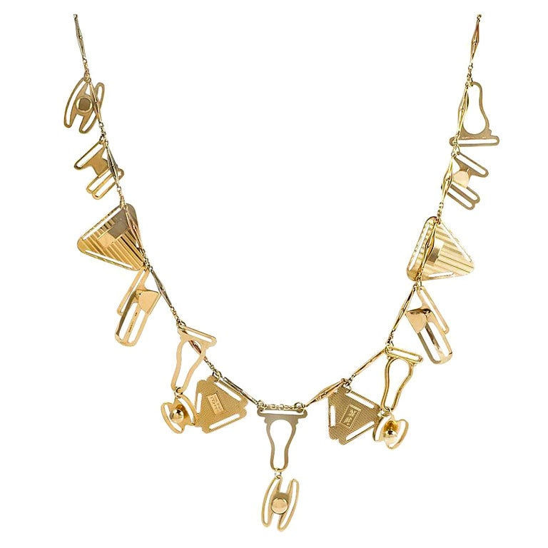 Art Deco Gold Necklace with Lingerie Fasteners For Sale