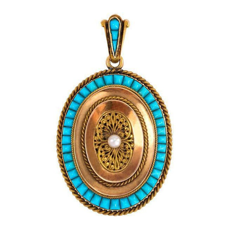 Antique French Gold Locket With Turquoise And Pearl