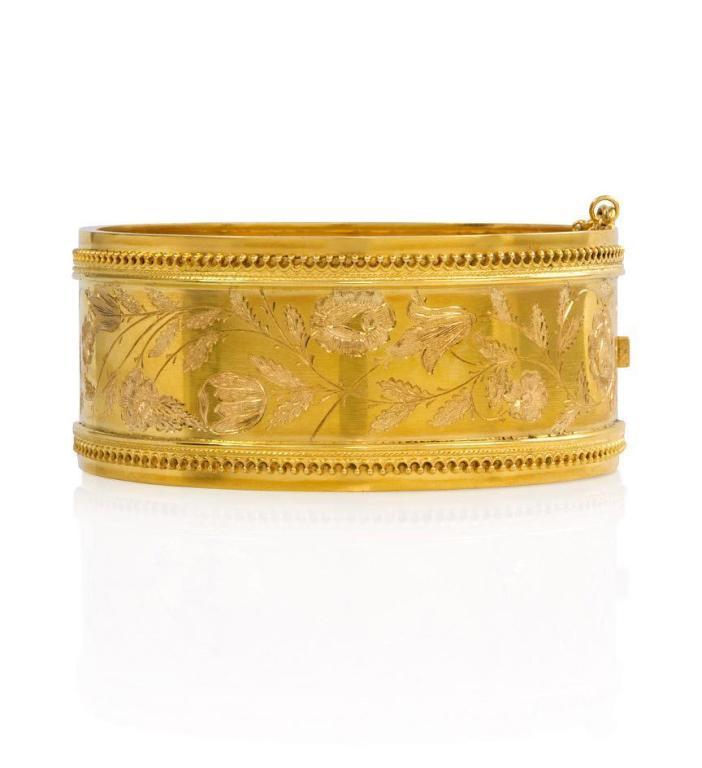 Victorian Gold Bangle Bracelet With Engraved Design At 1stdibs