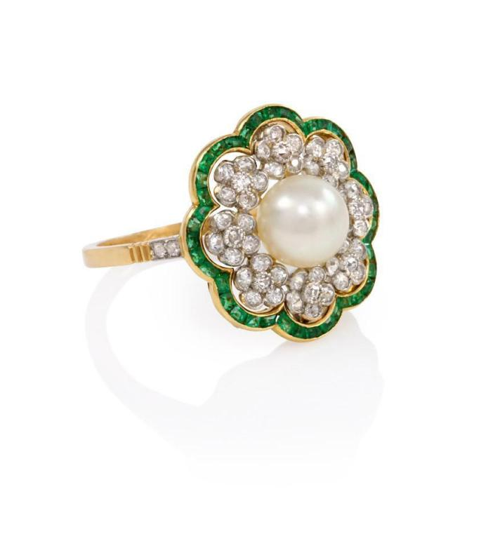 edwardian pearl emerald flower cluster ring at 1stdibs