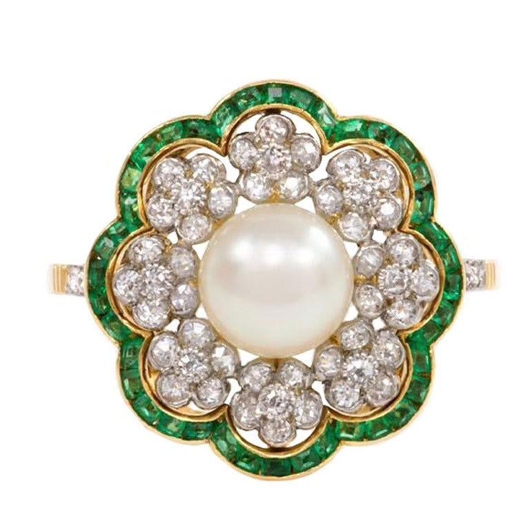 Edwardian Pearl Emerald Diamond Flower Cluster Ring At 1stdibs