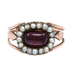 Georgian Pearl Garnet Gold Cluster Ring