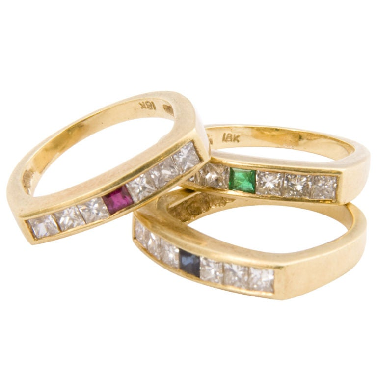 18kt triple set of gem stone rings at 1stdibs for Triple j fine jewelry